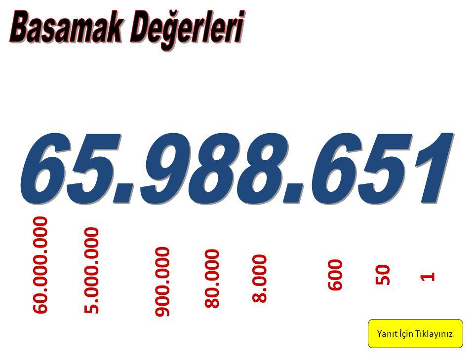 Basamak Değerleri 65.988.651. 60.000.000. 5.000.000.