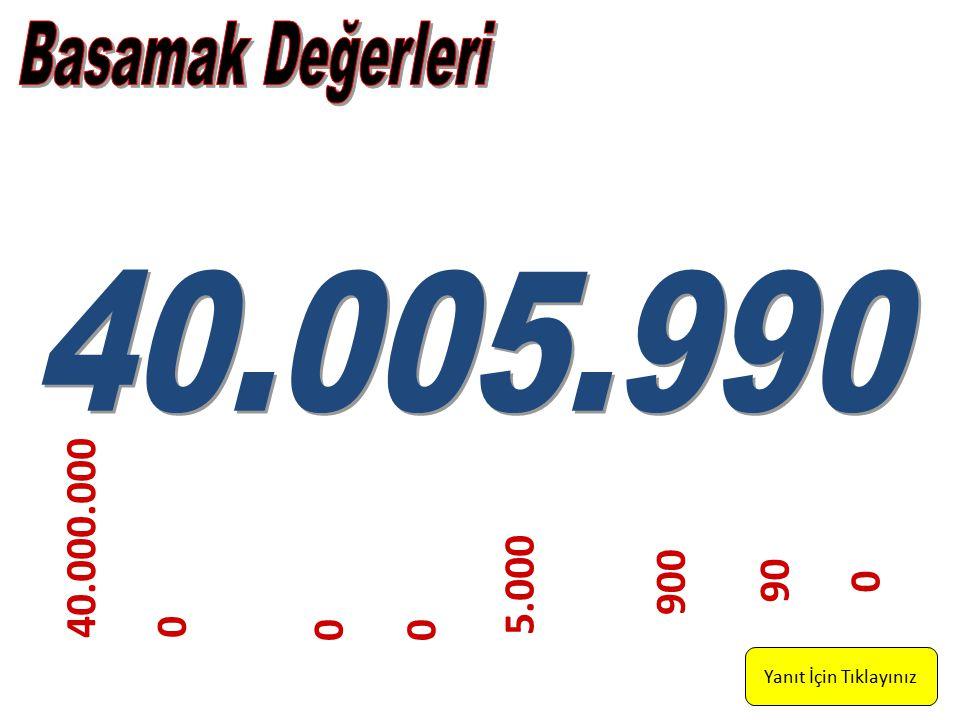 Basamak Değerleri 40.005.990 40.000.000 900 5.000 90 Yanıt İçin Tıklayınız