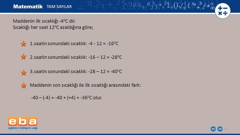 Maddenin ilk sıcaklığı -40C dir.