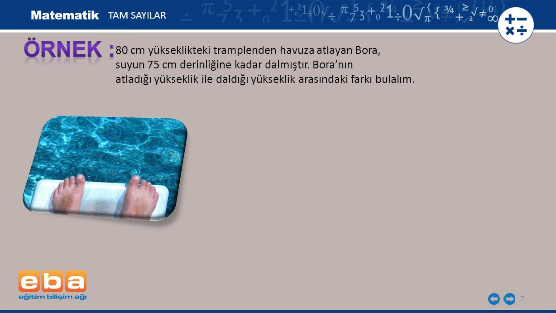 ÖRNEK : 80 cm yükseklikteki tramplenden havuza atlayan Bora,