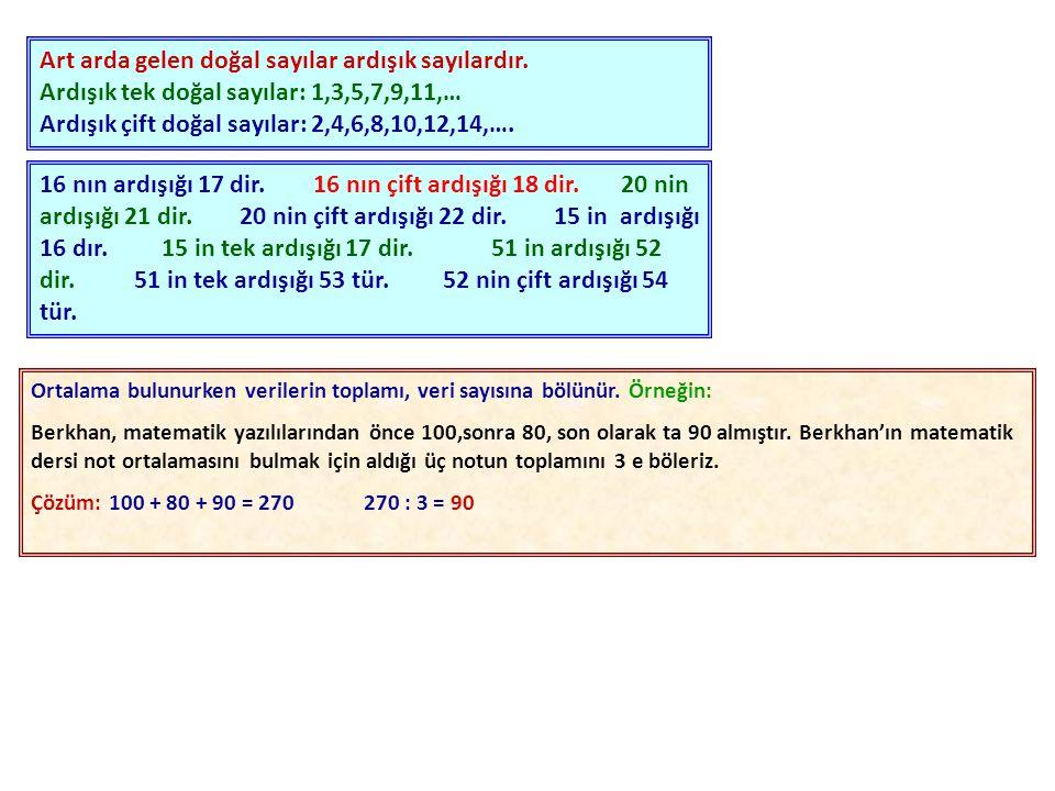 Art arda gelen doğal sayılar ardışık sayılardır
