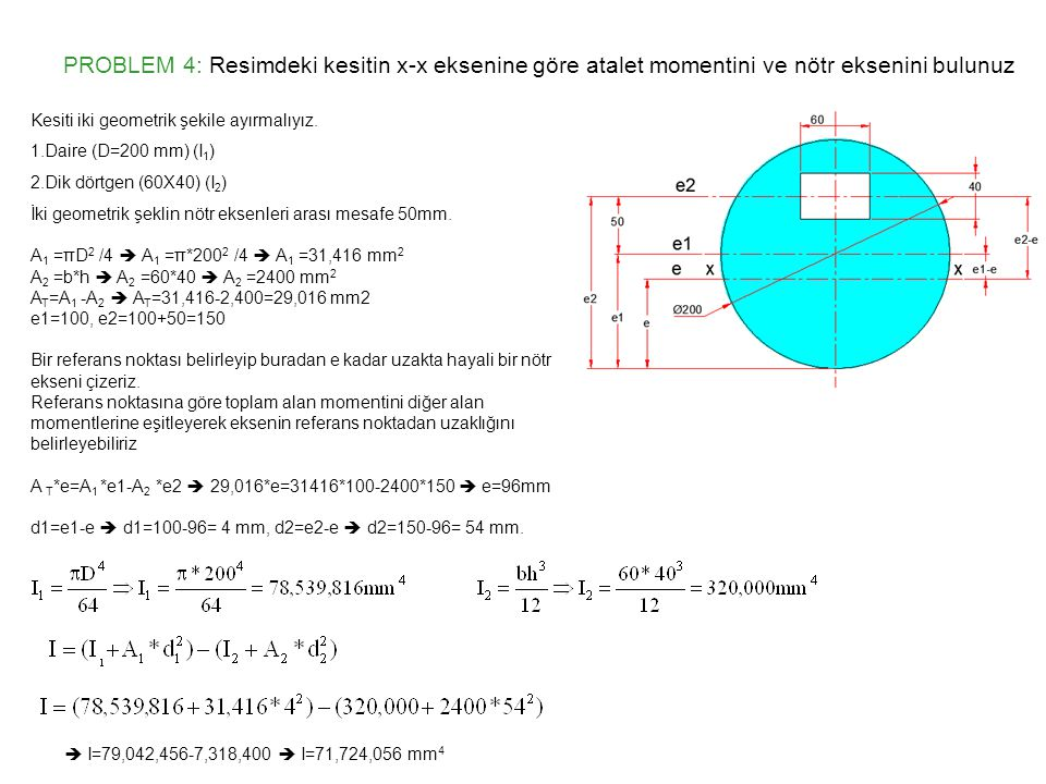 PROBLEM 4: Resimdeki kesitin x-x eksenine göre atalet momentini ve nötr eksenini bulunuz