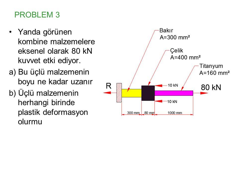 PROBLEM 3 Yanda görünen kombine malzemelere eksenel olarak 80 kN kuvvet etki ediyor. a) Bu üçlü malzemenin boyu ne kadar uzanır.