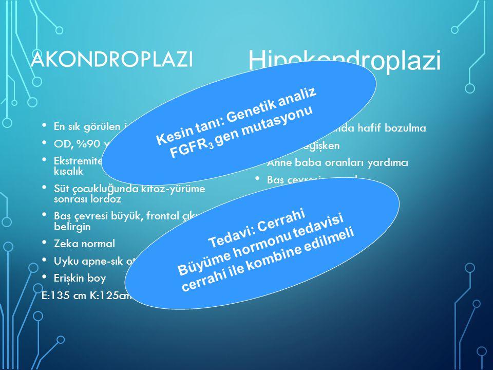 Hipokondroplazi Akondroplazi Kesin tanı: Genetik analiz