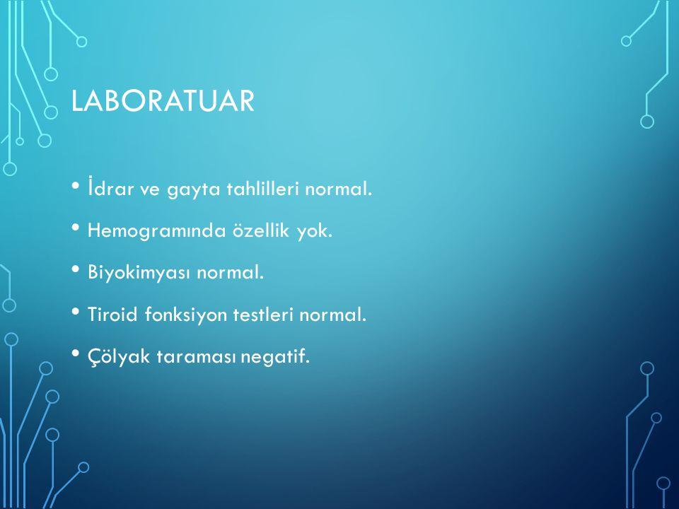 laboratuar İdrar ve gayta tahlilleri normal. Hemogramında özellik yok.