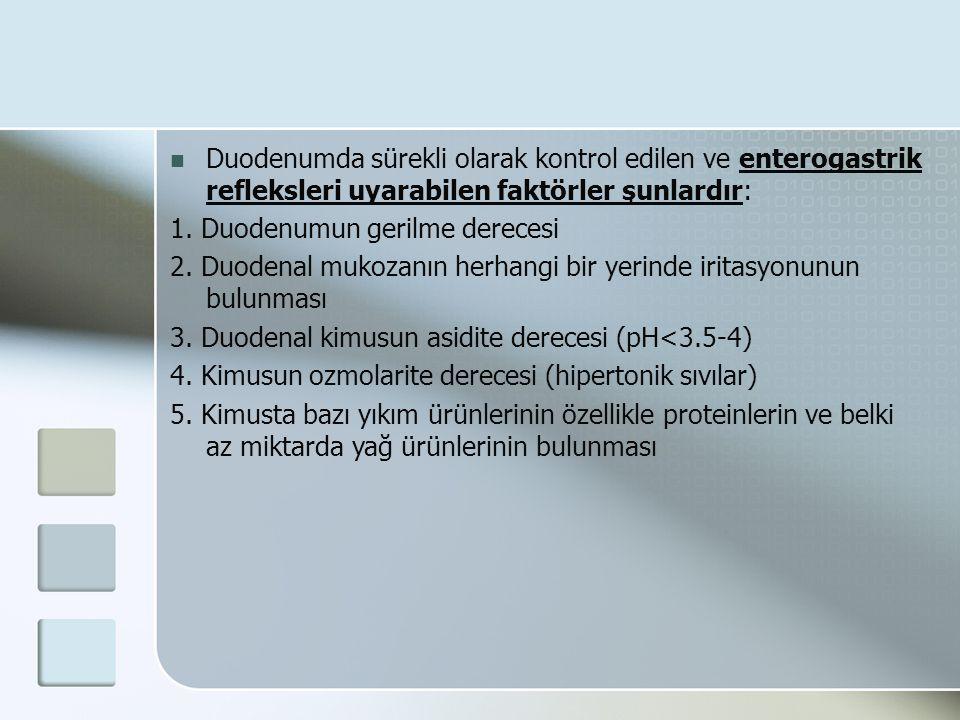 Duodenumda sürekli olarak kontrol edilen ve enterogastrik refleksleri uyarabilen faktörler şunlardır: