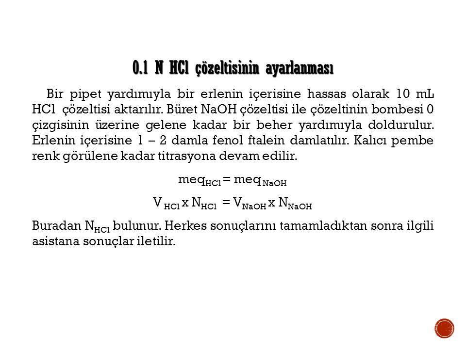 0.1 N HCl çözeltisinin ayarlanması