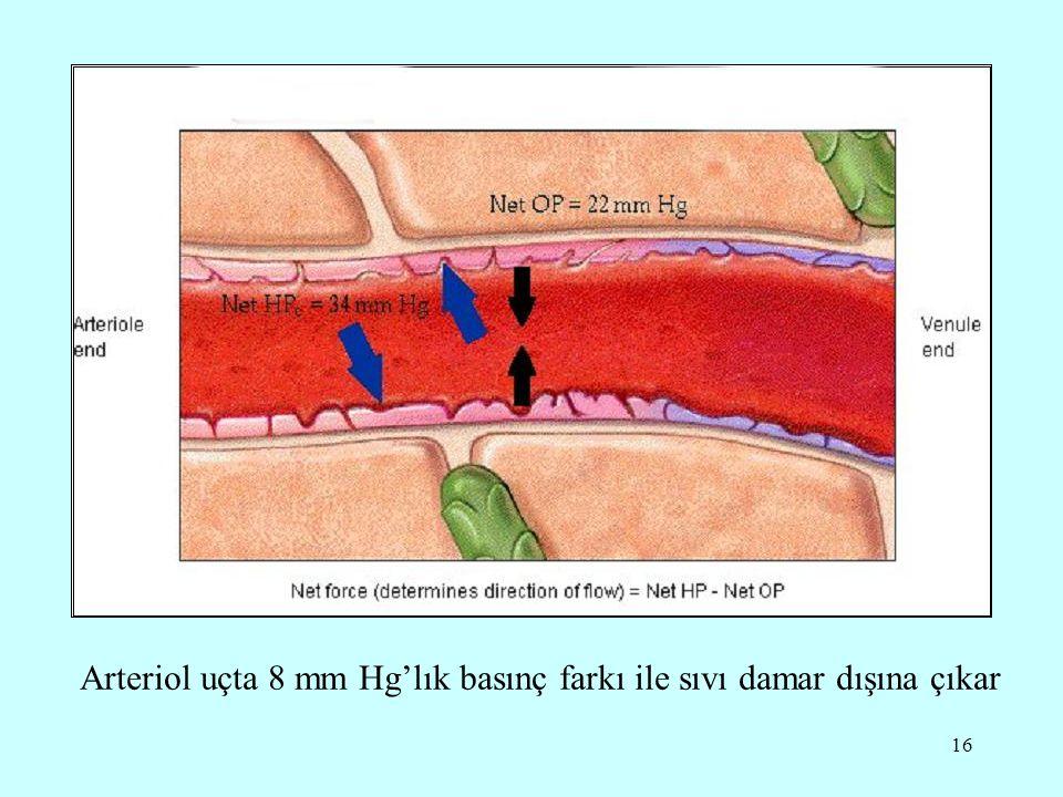Arteriol uçta 8 mm Hg'lık basınç farkı ile sıvı damar dışına çıkar