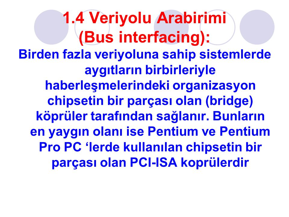 1.4 Veriyolu Arabirimi (Bus interfacing):