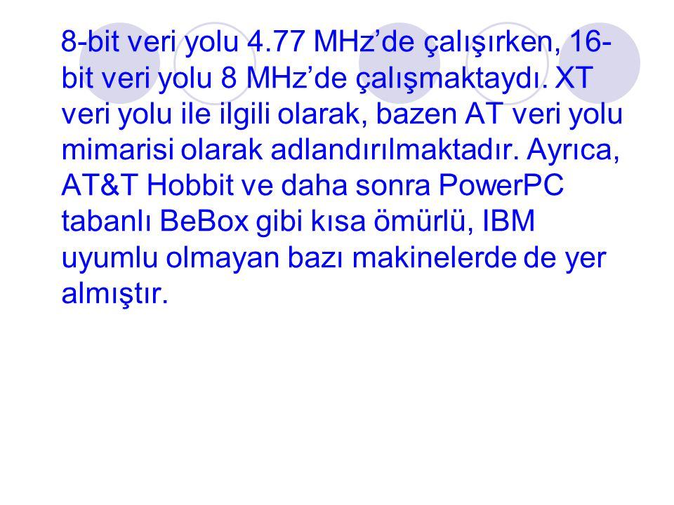 8-bit veri yolu 4.77 MHz'de çalışırken, 16-bit veri yolu 8 MHz'de çalışmaktaydı.