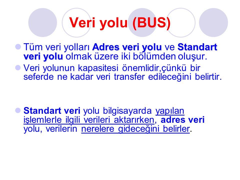 Veri yolu (BUS) Tüm veri yolları Adres veri yolu ve Standart veri yolu olmak üzere iki bölümden oluşur.