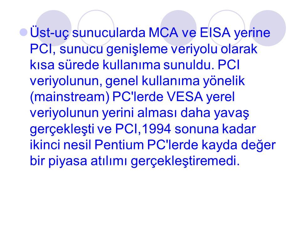 Üst-uç sunucularda MCA ve EISA yerine PCI, sunucu genişleme veriyolu olarak kısa sürede kullanıma sunuldu.