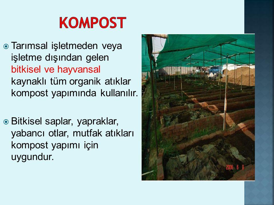 KOMPOST Tarımsal işletmeden veya işletme dışından gelen bitkisel ve hayvansal kaynaklı tüm organik atıklar kompost yapımında kullanılır.