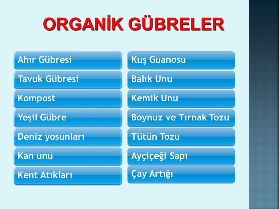 ORGANİK GÜBRELER Ahır Gübresi Tavuk Gübresi Kompost Yeşil Gübre