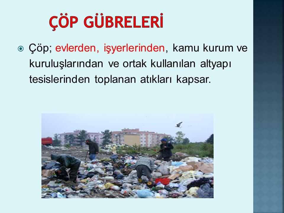 ÇÖP GÜBRELERİ Çöp; evlerden, işyerlerinden, kamu kurum ve