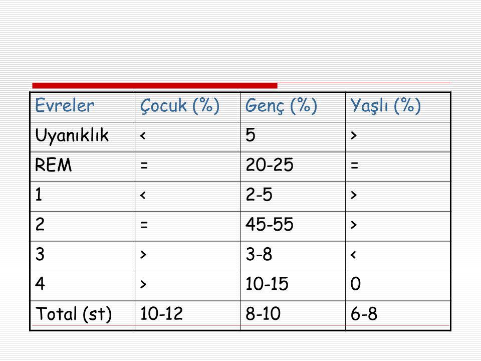 Evreler Çocuk (%) Genç (%) Yaşlı (%) Uyanıklık. < 5. > REM. = 20-25. 1. 2-5. 2. 45-55.
