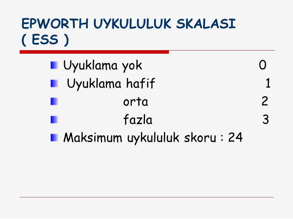 EPWORTH UYKULULUK SKALASI ( ESS )