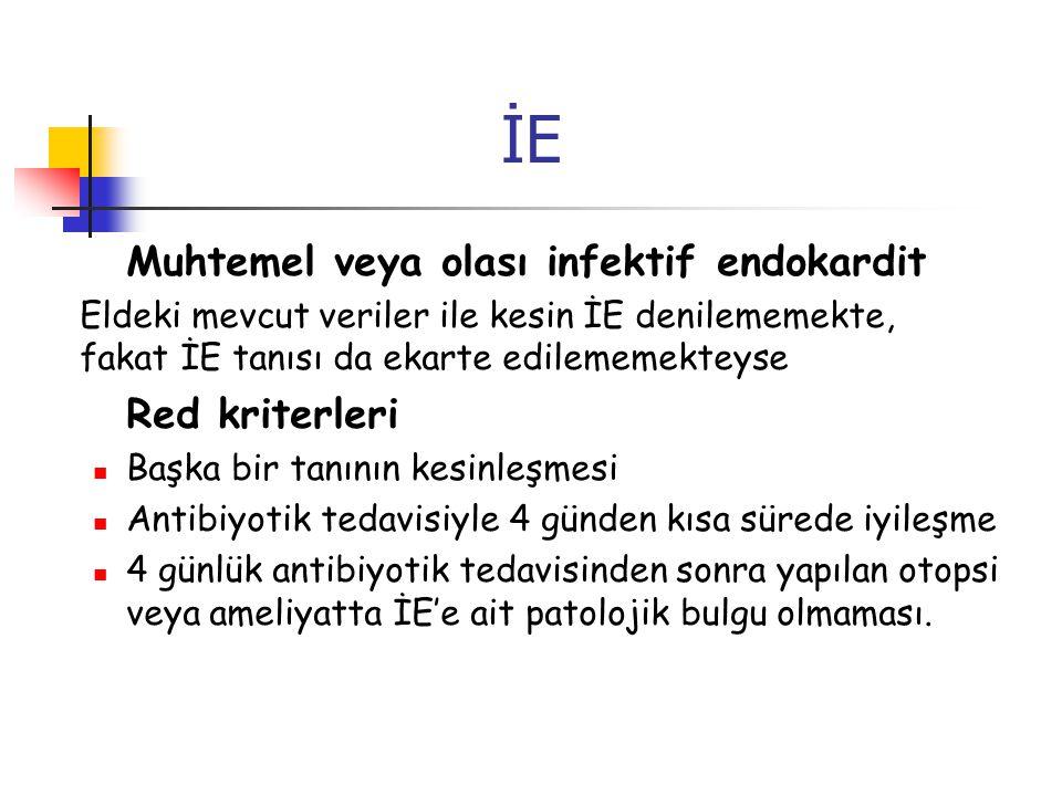 İE Muhtemel veya olası infektif endokardit Red kriterleri