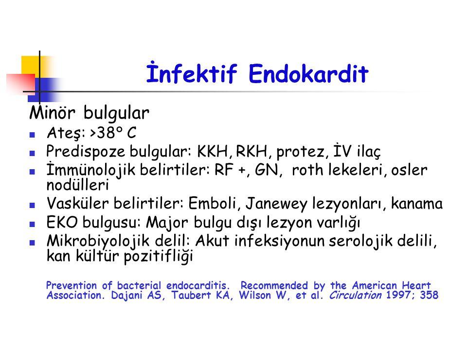 İnfektif Endokardit Minör bulgular Ateş: >38° C