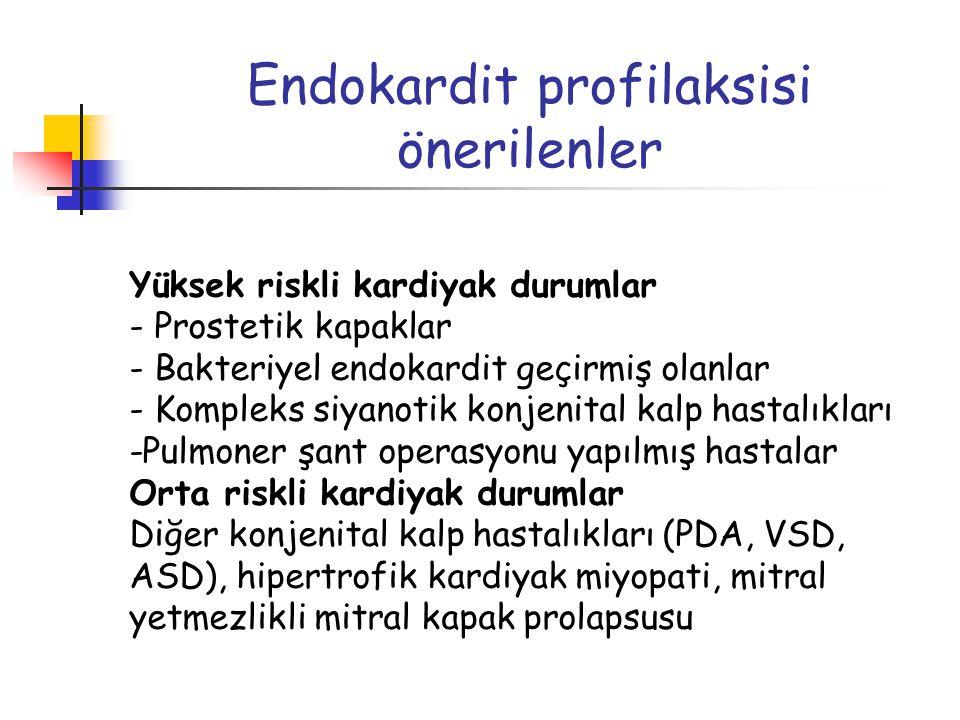 Endokardit profilaksisi önerilenler