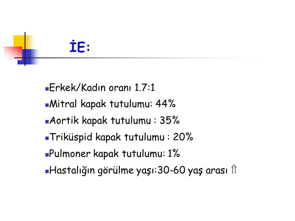 İE: Erkek/Kadın oranı 1.7:1 Mitral kapak tutulumu: 44%