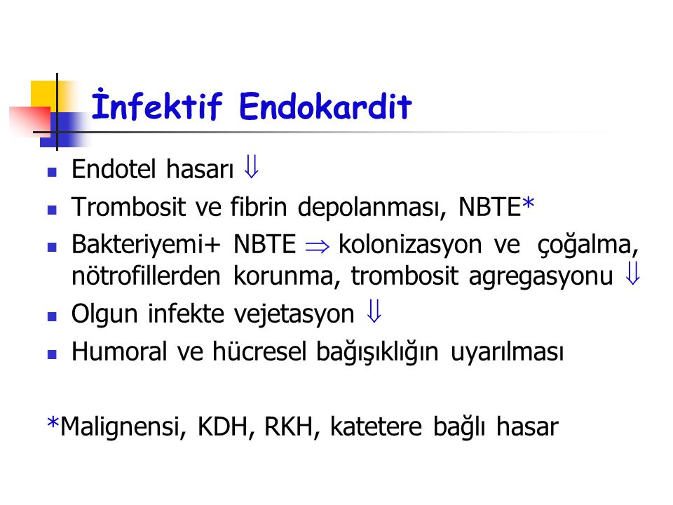 İnfektif Endokardit Endotel hasarı 
