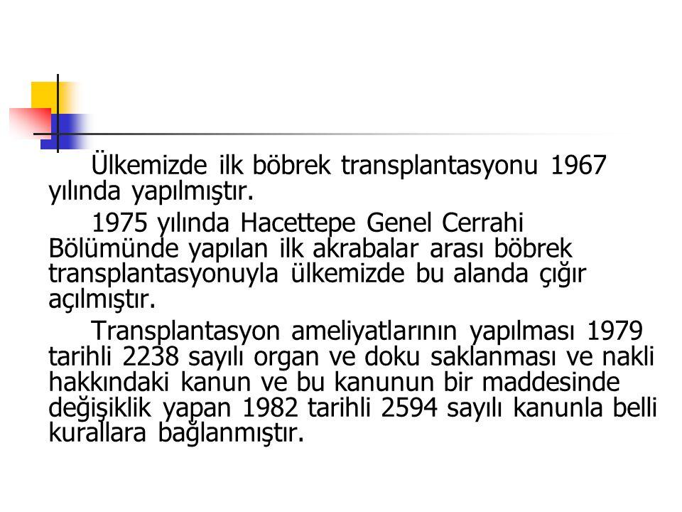 Ülkemizde ilk böbrek transplantasyonu 1967 yılında yapılmıştır.