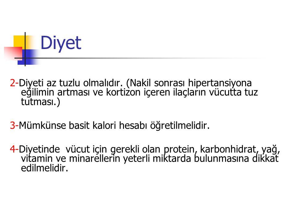 Diyet 2-Diyeti az tuzlu olmalıdır. (Nakil sonrası hipertansiyona eğilimin artması ve kortizon içeren ilaçların vücutta tuz tutması.)