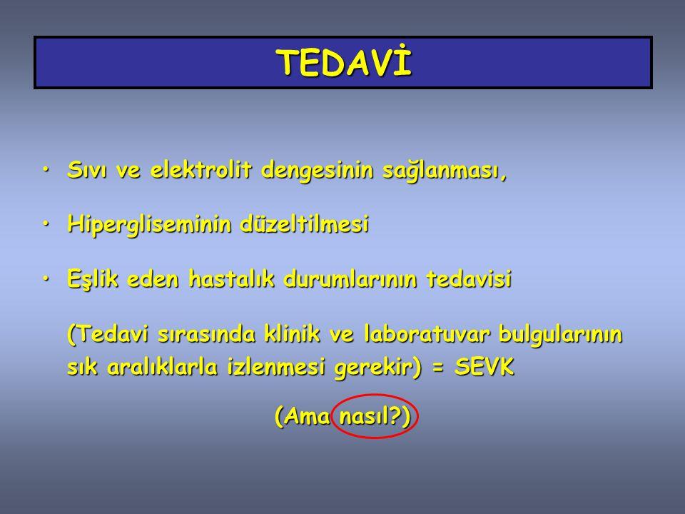 TEDAVİ Sıvı ve elektrolit dengesinin sağlanması,