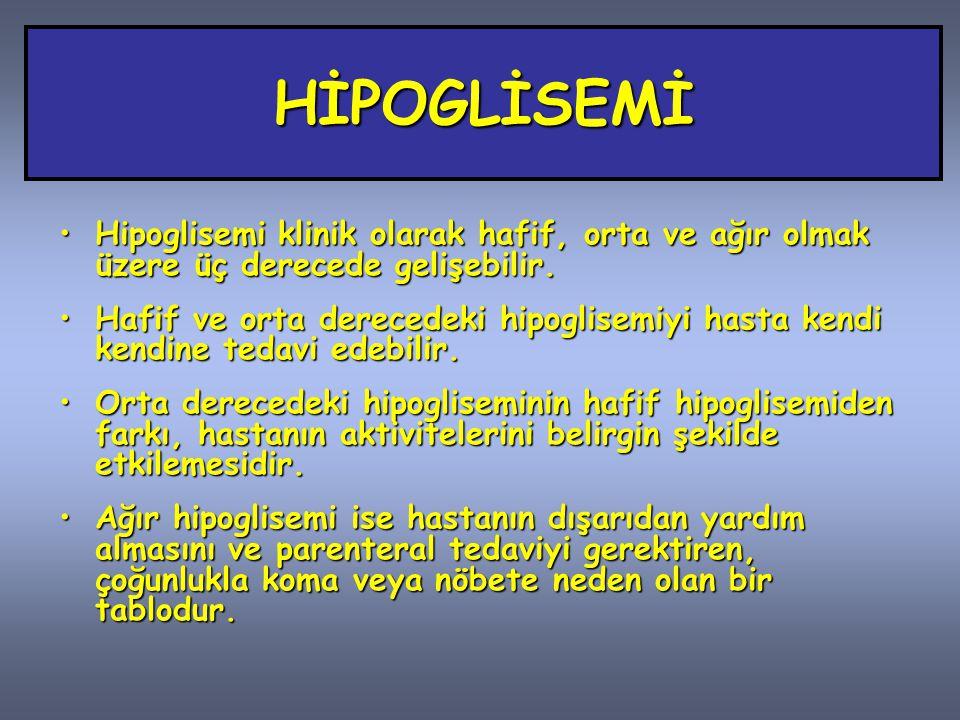 HİPOGLİSEMİ Hipoglisemi klinik olarak hafif, orta ve ağır olmak üzere üç derecede gelişebilir.