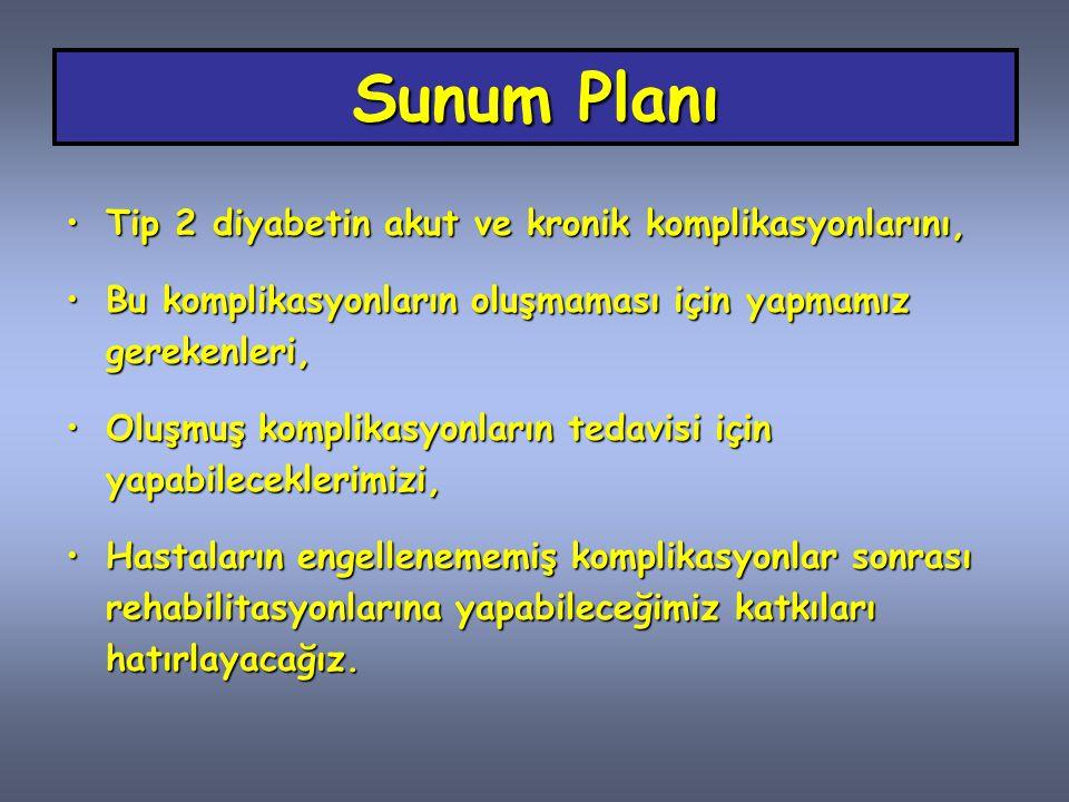 Sunum Planı Tip 2 diyabetin akut ve kronik komplikasyonlarını,