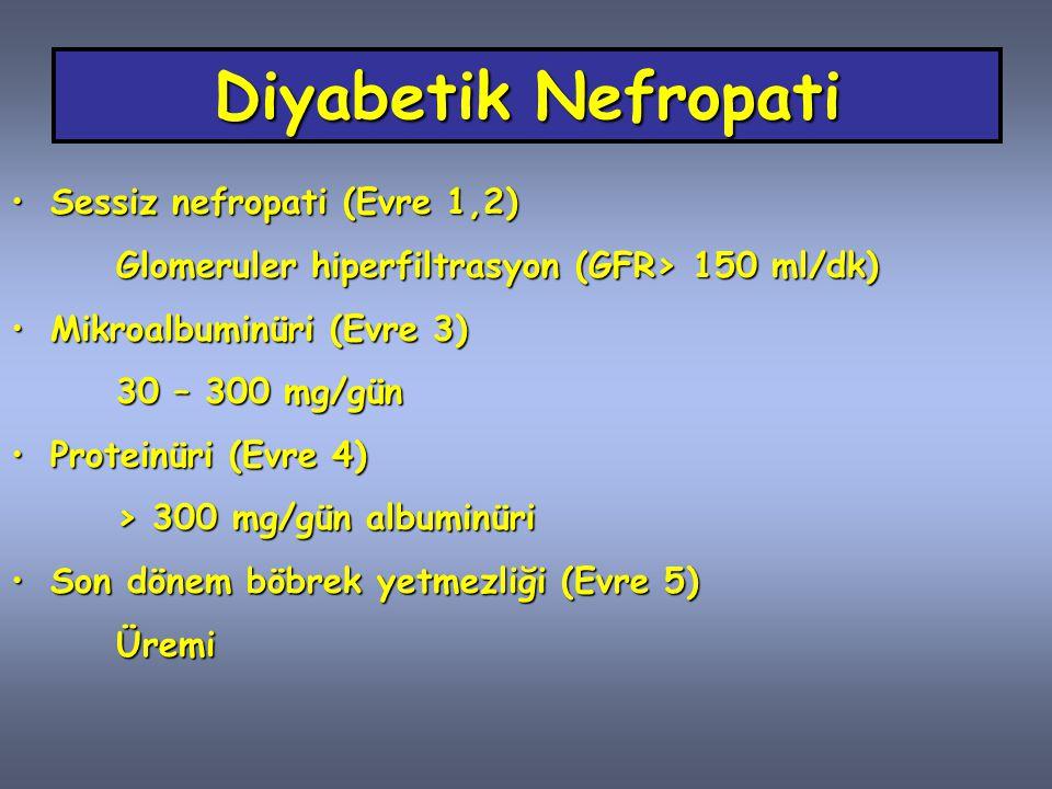Diyabetik Nefropati Sessiz nefropati (Evre 1,2)