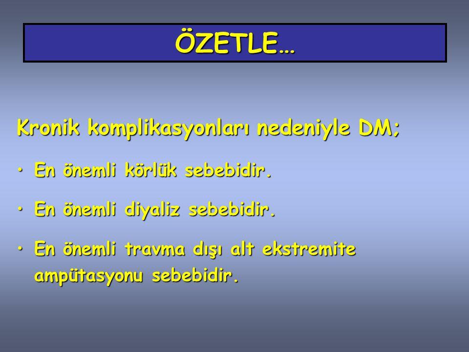 ÖZETLE… Kronik komplikasyonları nedeniyle DM;