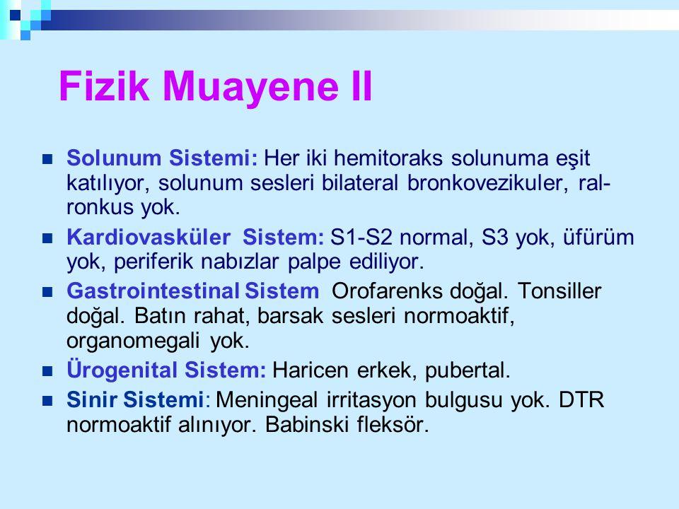 Fizik Muayene II Solunum Sistemi: Her iki hemitoraks solunuma eşit katılıyor, solunum sesleri bilateral bronkovezikuler, ral-ronkus yok.