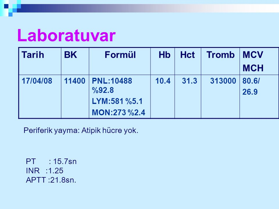 Laboratuvar Tarih BK Formül Hb Hct Tromb MCV MCH 17/04/08 11400