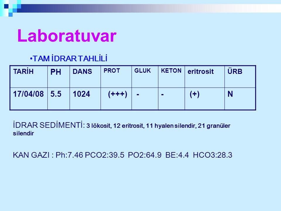 Laboratuvar TAM İDRAR TAHLİLİ PH 17/04/08 5.5 1024 (+++) - (+) N