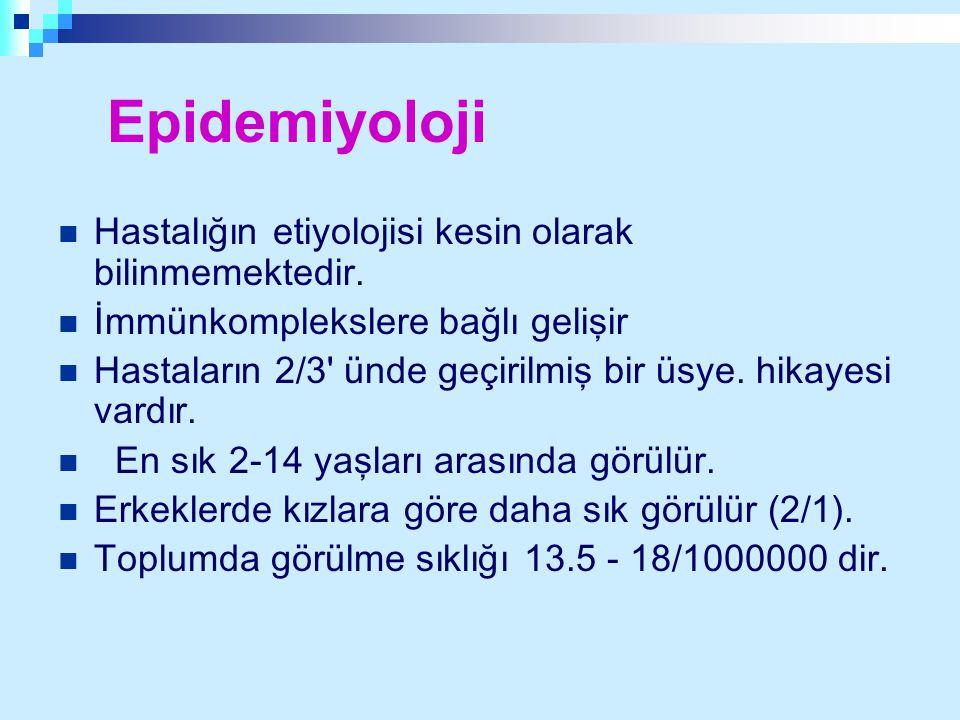 Epidemiyoloji Hastalığın etiyolojisi kesin olarak bilinmemektedir.