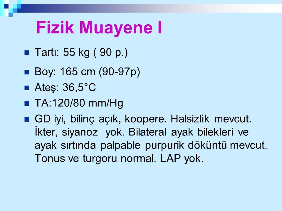 Fizik Muayene I Tartı: 55 kg ( 90 p.) Boy: 165 cm (90-97p)