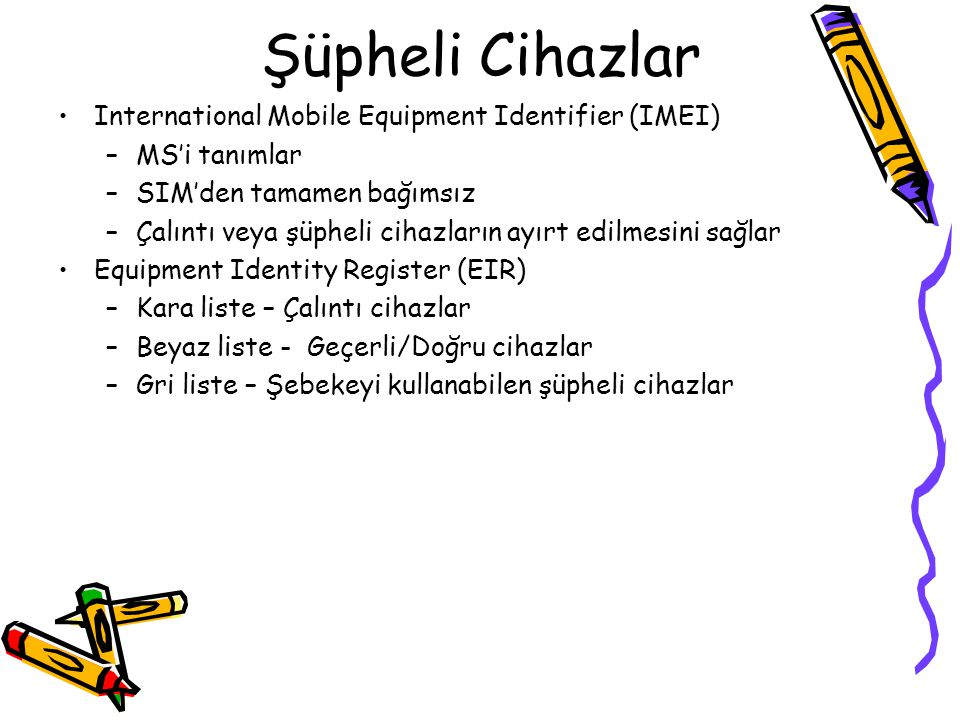Şüpheli Cihazlar International Mobile Equipment Identifier (IMEI)