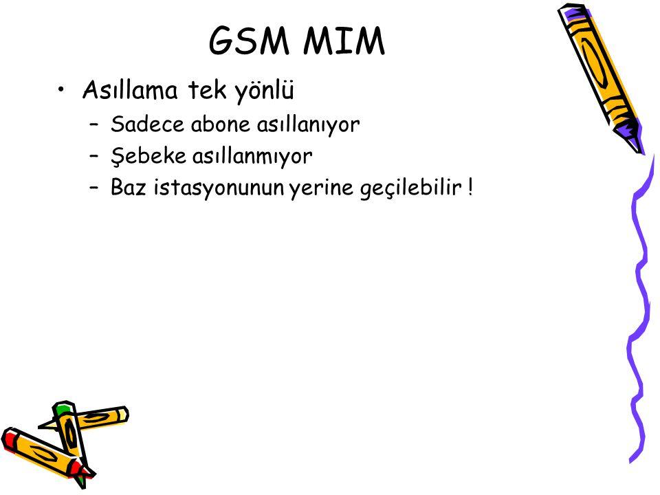 GSM MIM Asıllama tek yönlü Sadece abone asıllanıyor