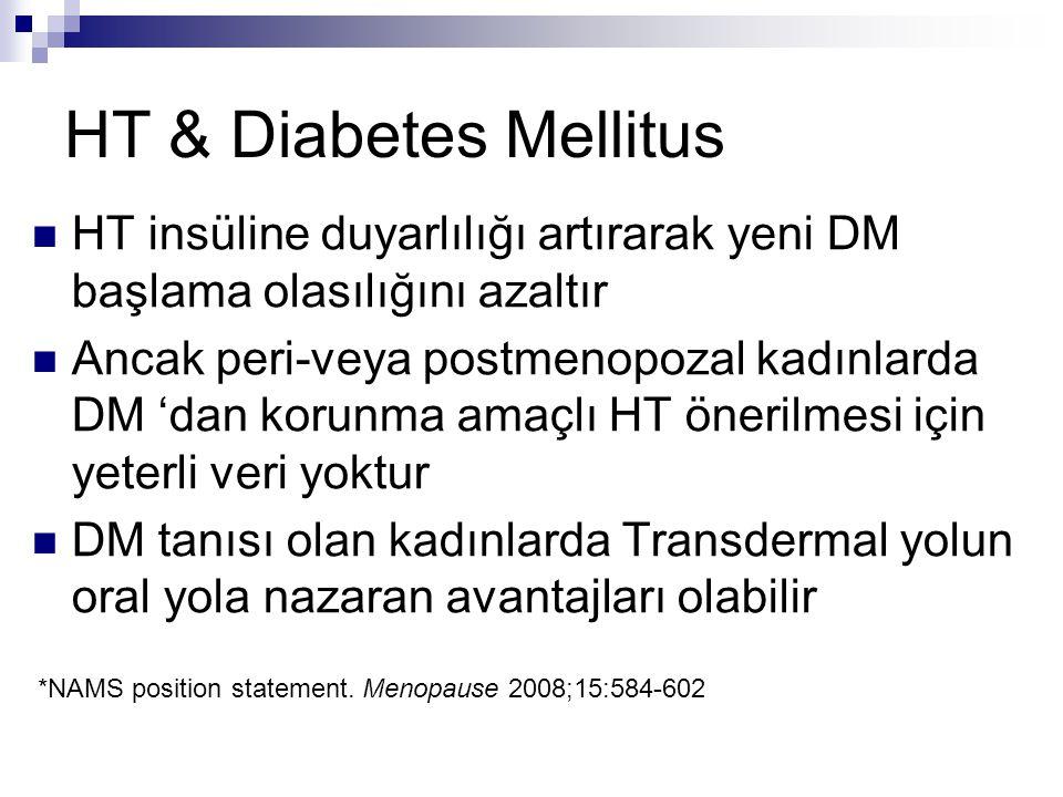 HT & Diabetes Mellitus HT insüline duyarlılığı artırarak yeni DM başlama olasılığını azaltır.