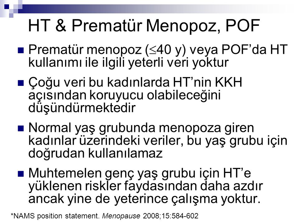 HT & Prematür Menopoz, POF