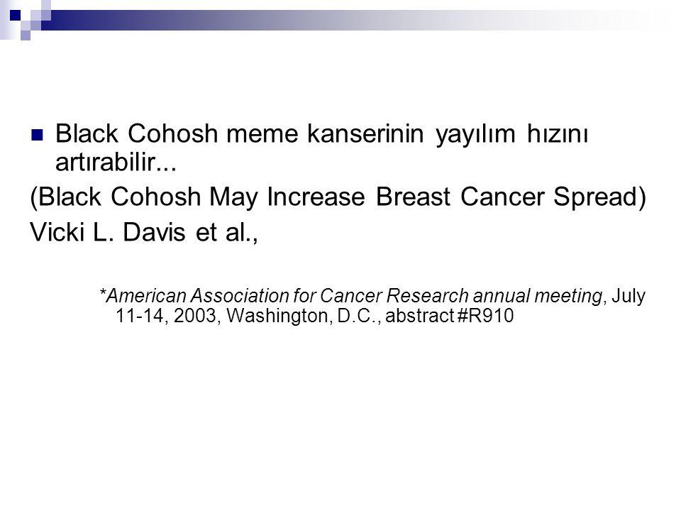 Black Cohosh meme kanserinin yayılım hızını artırabilir...