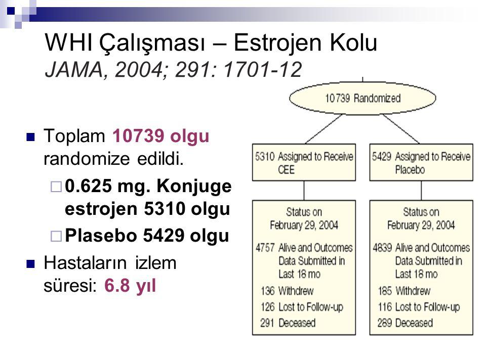 WHI Çalışması – Estrojen Kolu JAMA, 2004; 291: 1701-12