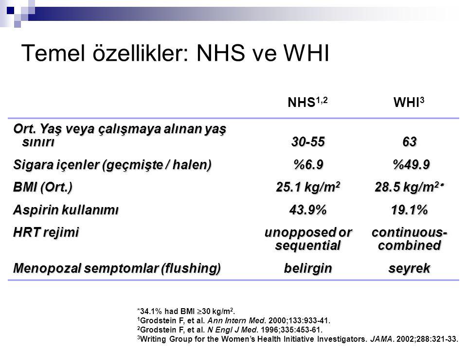 Temel özellikler: NHS ve WHI