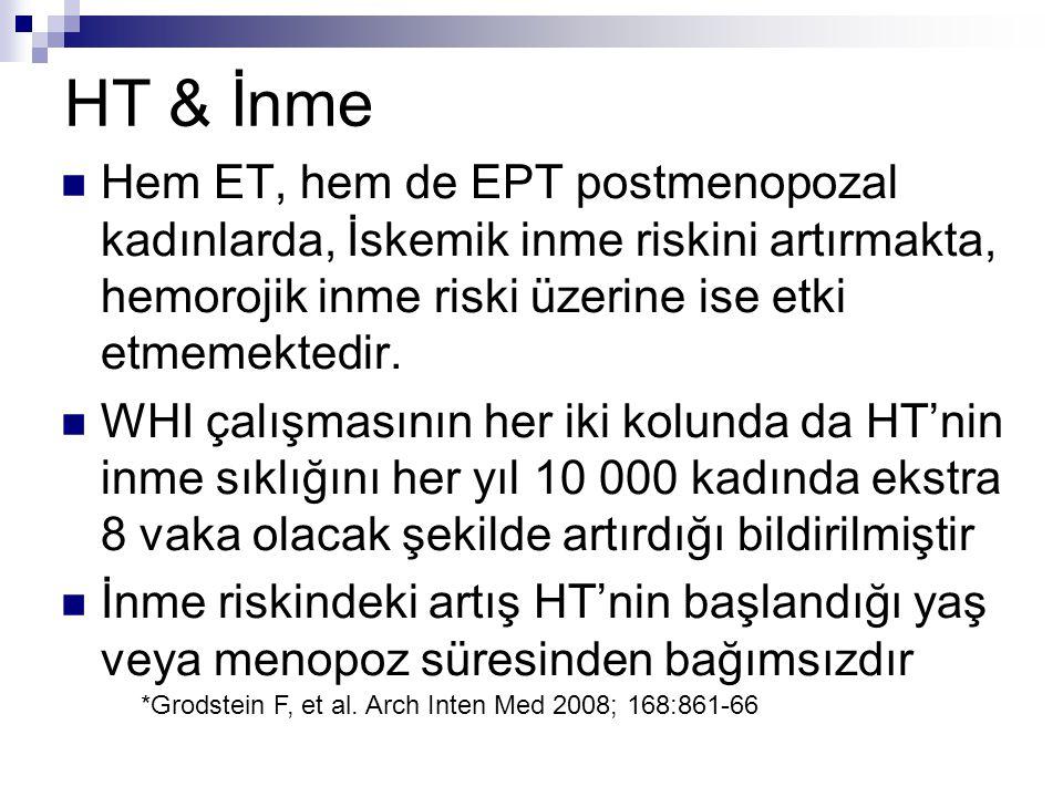 HT & İnme Hem ET, hem de EPT postmenopozal kadınlarda, İskemik inme riskini artırmakta, hemorojik inme riski üzerine ise etki etmemektedir.
