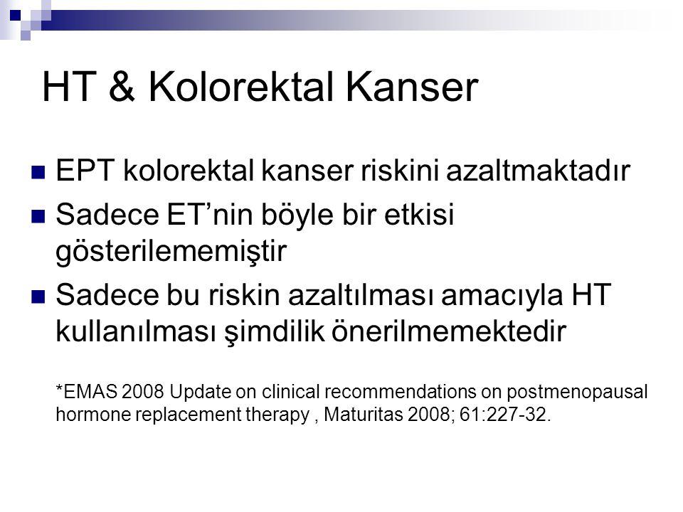 HT & Kolorektal Kanser EPT kolorektal kanser riskini azaltmaktadır
