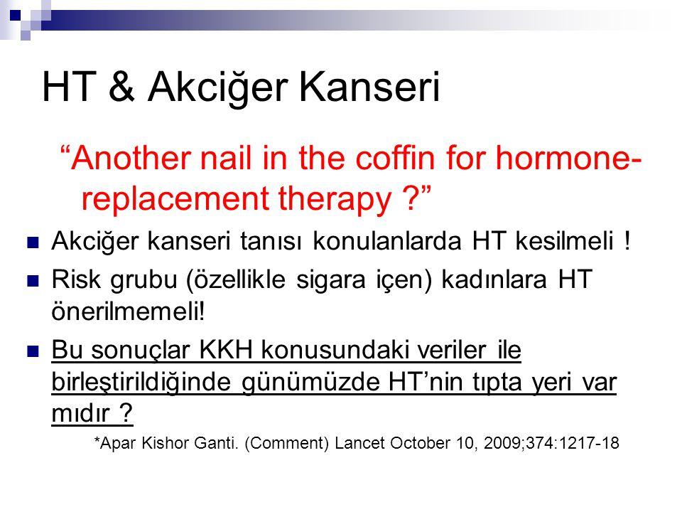 HT & Akciğer Kanseri Another nail in the coffin for hormone-replacement therapy Akciğer kanseri tanısı konulanlarda HT kesilmeli !