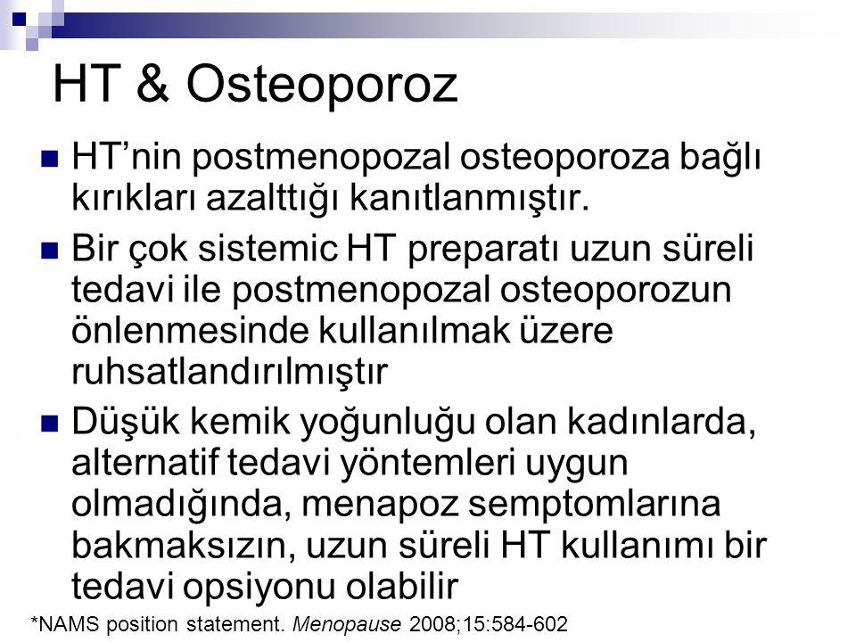 HT & Osteoporoz HT'nin postmenopozal osteoporoza bağlı kırıkları azalttığı kanıtlanmıştır.