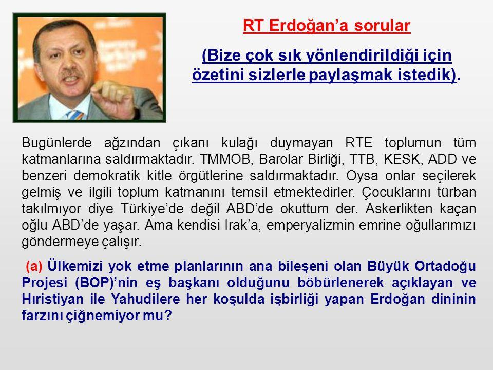 RT Erdoğan'a sorular (Bize çok sık yönlendirildiği için özetini sizlerle paylaşmak istedik).